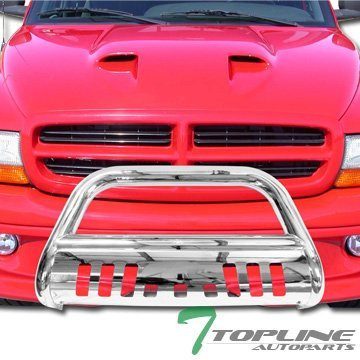Topline Autopart SS Stainless Steel Chrome HD Heavyduty Bull Bar Brush Push Front Bumper Grill Grille Guard Protector Tubular Tube 05-10 Dodge Dakota Club Quad Cab 2011 Ram Dakota by Topline_autopart