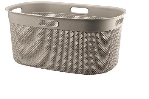 FILO Wäschebox 45L, Plastik Wäschekorb, Wäschesammler aus Kunststoff, Wäschebox 39x27x59cm, Wäschetonne (Taupe)