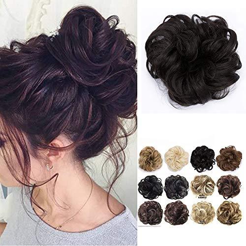 Extension chignon capelli finti elastico castano updo toupet donna hair bun ponytail scrunchie parrucchino posticci ricci, marrone medio