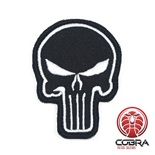 Cobra Tactical Solutions Military Airsoft Morale Patch Parche Punisher Skull Black Hook Fastener Bordado Gancho