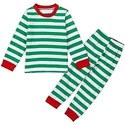 VLUNT Conjunto Pijamas Navidad Familia con Dos Piezas Top Manga Larga Pantalones Ropa de Dormir Rayas Trajes Navideños Ropa de Noche Homewear Navidad Verde (Niños)