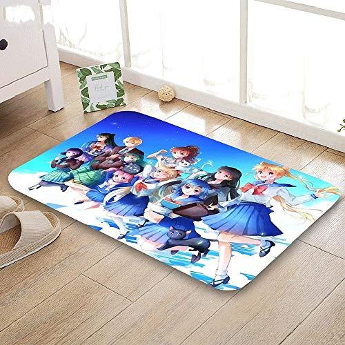 FeiXing158 Zerbino Sailor Moon Tappetino per la casa Tappeto per Bagno Antiscivolo Fatto a Macchina/Corridoio Tappetino da Bagno per Bambini
