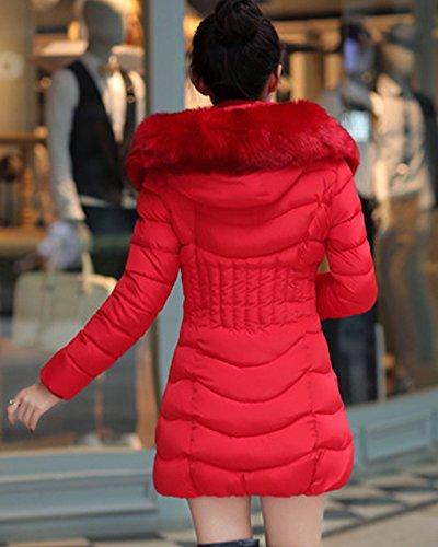 MISSMAO Donna Giacca Trapuntato Cappotti Inverno Spessore Caldo Cappotto Slim Fit con cappucciato di Pelliccia Ecologica