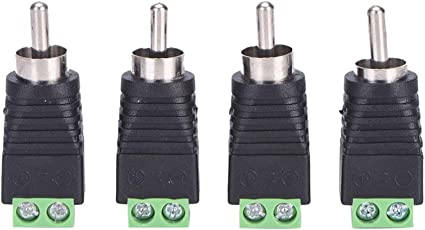 Phenovo Speaker RCA Wire to AV Phono Male RCA Connector Jack Terminal Adapter 4 Pieces