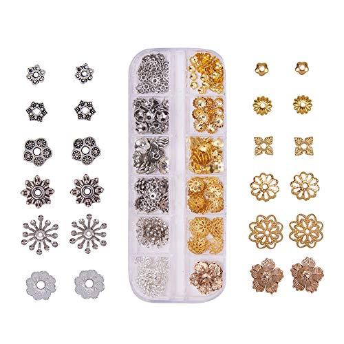 PandaHall Elite Über 310 Stück Alloy & Messing Bead Caps Blume Bead endet für DIY Schmuckherstellung, 12 Formen, Mischfarbe