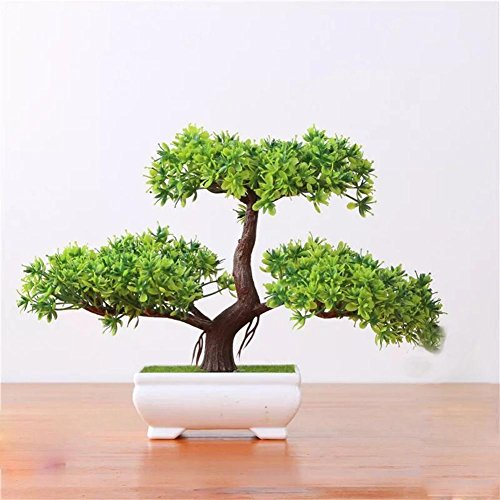 2018 Classic Pflanzen Dekoration Künstliche Pflanzen,GrüN Pinien Nachahmung Kunststoff KüNstliche,Home Feng Shui Dekoration,Höhe ca. 20 cm, 22
