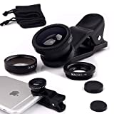 I-Sonite (Noir) Téléphone mobile Appareil photo pour objectif universel 3 en 1 Kit Grand Angle + Fisheye + lentille macro avec 180 clipser degré pour Huawei P10 Lite