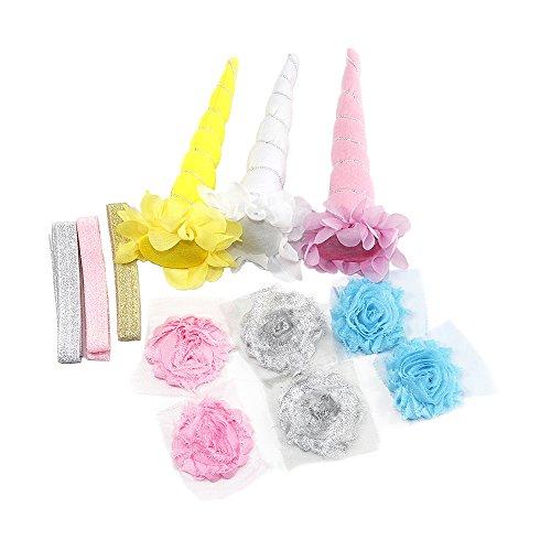 Aufnahmen Kuchen (Spiral Unicorn Horn 3Pack DIY Set mit Glitzer Elastic Haarband und 6Stück Chiffon Blume für Party Cosplay 3 Stück)
