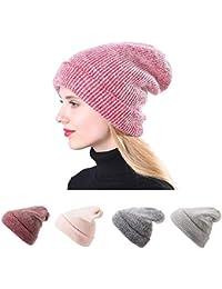 STRIR Crochet Invierno Gorro Punto Caliente Cozy Mujeres Grande Sombrero  Moda Diseño de Lana Tejer Beanie ae43e66094c