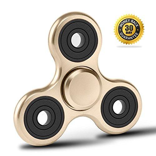 *Vivahouse Fidget Spinner   Hand-Kreisel Stress- + Angstabbau Spielzeug   ADHS Autismus ADS   Hilfe Beruhigung Klarheit + Konzentration   Leise drehendes Gadget in Aluminiumlegierung   Taschengröße (Zuckriges Gold)*