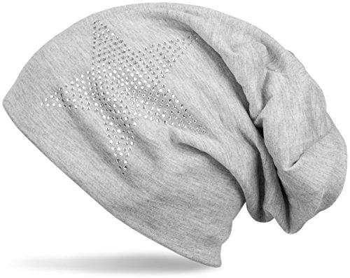 styleBREAKER chapeau bonnet classique avec application strass étoiles, facile, Unisexe 04024019 gris clair