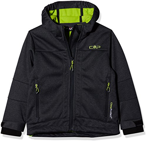 Cmp 3a00094, giacca bambino, nero (asphalt mel/lime green), 140 cm