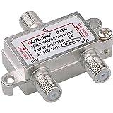 SAT & BK-Verteiler - 2-fach Splitter - voll geschirmt - unicable & HD tauglich [DUR-line D2FV - Verteiler für Satelliten-Anlagen(DVB-S2) - BK - UKW Radio - DC-Durchlass - TV Antennen Fernseh Verteiler]