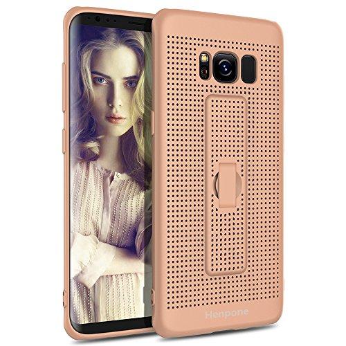 Samsung Galaxy S8 Hülle, Flexibel TPU Case Cover Atmungsaktiv Mesh Anti Fingerabdruck Schutzhülle mit Halter Weich Handyhülle für Galaxy S8 (S8 Champagner Gold) (Mesh-handy-halter)