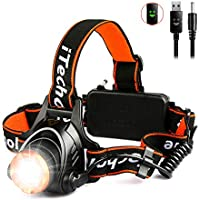 LED Head Torch - iTechole USB Rechargeable Headlamp with Super Bright 2000 Lumens, XM-L T6 LED, Zoomable 3 Modes, 2*18650 Rechargeable Batteries -4000mAh, Waterproof and Hands Free Front Headlight for Running Walking Cycling Camping Hunting Hiking Outdoor Lighting