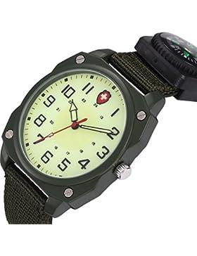 Unendlich U Armee-Stil Unisex Quarzarmbanduhr Armeegrün Nylon Armband Wasserdicht Armbanduhr mit Kompass Leuchtzifferblatt...