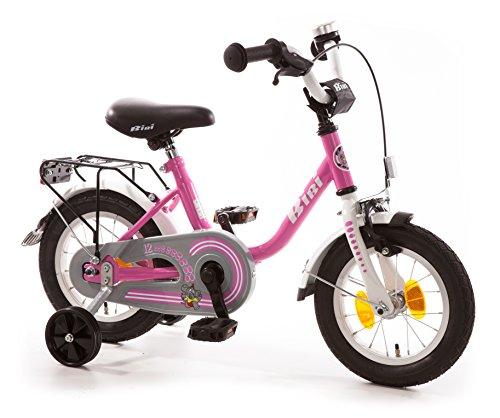 """Kinderfahrrad 12\"""" Zoll (=30,5cm) Bibi Pink Weiß Stützräder + Seitenständer"""