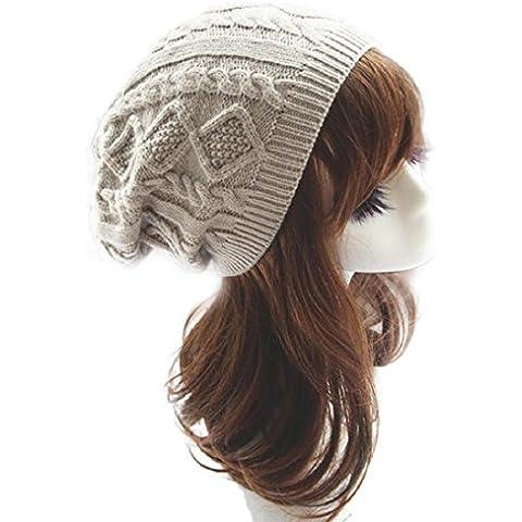 Tongshi Unisex Knit Baggy Beanie Beret caliente del invierno de gran tamaño gorra de esquí
