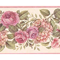 Roll-15 x 4,75 Norwall Gelb rosa lila Rosen am Weinstock Blumentapete Grenze Retro-Design