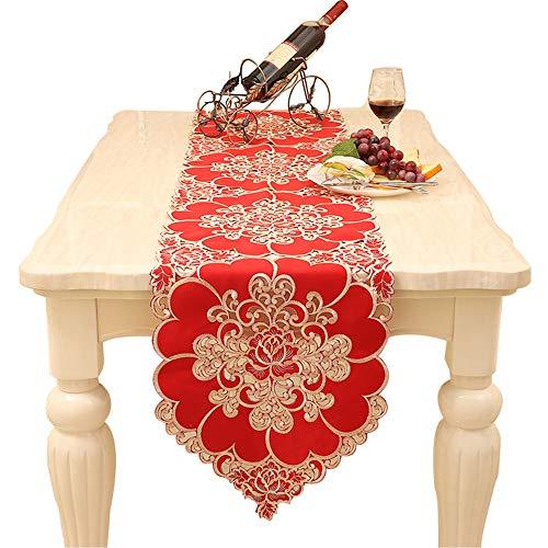 Hehh Tuoba Fish Tabelle Flagge Brokat Satin Seide Rot Reichen Blume Couchtisch Klavier Stickerei,Red,40 * 180CM -