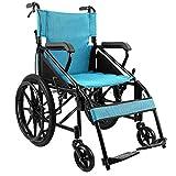 ACEDA Faltbarer Rollstuhl Mit Hohen Griffen,Leichtgewichtrollstuhl Drive Medical Metallic, Transportrollstuhl Reiserollstuhl, Sitzbreite 46Cm,Blue,70 * 95Cm