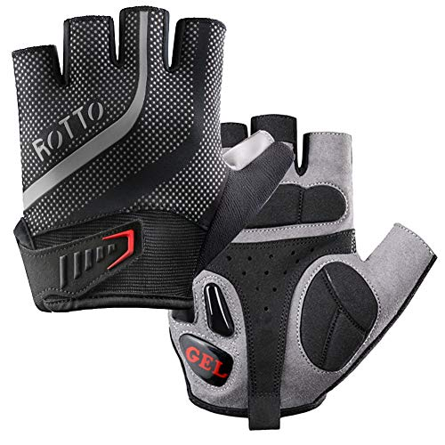 ROTTO Fahrradhandschuhe MTB Handschuhe Halbfinger für Fitness Herren Damen mit Gel und SBR-Polsterung Schwarz-Grau (Schwarz-Grau, L)