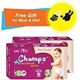 Super Champs High Absorbent Premium Pant Style Diaper (Pack Of 2) (Free Pair Of Secret And Loafer Socks) | Premium Pant Diapers | Premium Diapers | Premium Baby Diapers | Anti-rash And Anti-bacterial Diaper | (Large, 34)