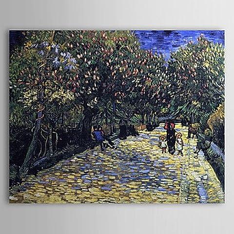 OFLADYH ® Olio dipinto famoso viale con alberi in fiore castagno di Van Gogh