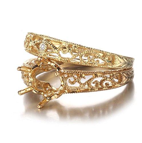 Gowe Art-Deco-Stil 7,5–8mm Rundschliff Semi Mount Ring & Match Band Diamant Ring Fassung massiv 10K Gelb Gold Hochzeit Set