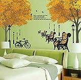PVC Ahorn Wald Fahrrad Englisch Buchstaben Straßenbeleuchtung Wandaufkleber Schlafzimmer Wandkunst Hintergrund Wandaufkleber Ausgangsdekor