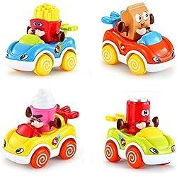 LUKAT - Pack de 4 Juguetes para bebé, Coches de Juguete para niños y niñas de 1 años (+18 meses) . Vehículos infantiles refresco, helado, patatas y leche.
