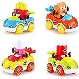 LUKAT Spielzeugautos Set für Kinder, Spielzeug Autos ab 1 Jahr 2 Jahren Kleine Geschenke Auto Spielzeug für Kinder Push and Go Auto Jungen und Mädchen 4er-Set