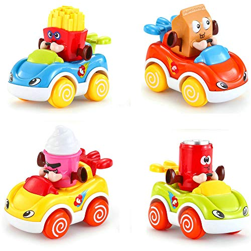 LUKAT - Pack of 4 Toys for baby, Toy Cars for boys and girls of 1 2 3 years (+ 18 months). Children's vehicles refreshment, ice cream, potatoes and milk.