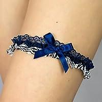 Giarrettiera di pizzo nozze matrimonio sposa biancheria intima regali de nozze bianco blu Handmade Zebra