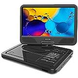 WONNIE 2019 Upgrade 9.5' Lecteur DVD portable avec écran rotatif à 270°,Carte SD et Prise USB avec Charge directe Formats/RMVB / AVI / MP3 / JPEG, Parfait pour Enfants (Rouge)