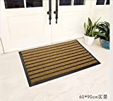 JIUZHOUCAI Semi-Circle Floor mats Household Balcony Scraping Non-Slip mats Plastic Household Waterproof Door mats Carpets,60x90cm,Rice Brown