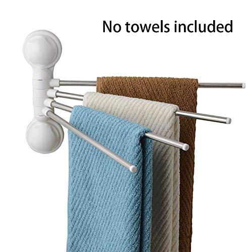 MOOUK Drehgelenk Handtuchhalter, Wandmontage Edelstahl Badetuch Ständer Schiene Starkes Saugnapf Handtuch Halter mit 4 Drehgelenk Barren,für Küche,Badezimmer, Toilette - Wie abgebildet, Einheitsgröße