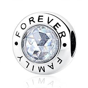 NINGAN Charm Family Forever 925 Sterling Silber Zirkonia klar passend für Pandora & European Armbänder