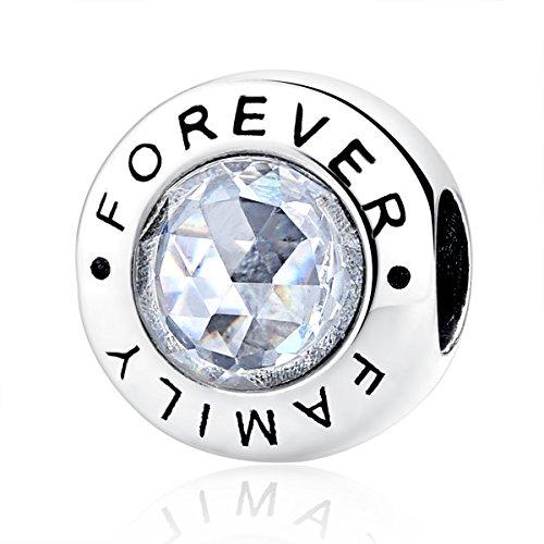 Charm-Anhänger, 925 Sterlingsilber mit Zirkonia, Motiv: Family Forever, für Pandora-Armbänder, kompatibel mit europäischen Armbändern (Pandora-armbänder Charms Und)
