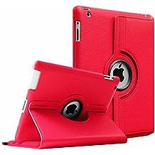 Fintie iPad 4 / 3 / 2 Funda - Giratoria 360 Grados Smart Case Funda Carcasa con Función y Auto-Sueño / Estela para Apple iPad 4 / iPad 3 / iPad 2, Rojo