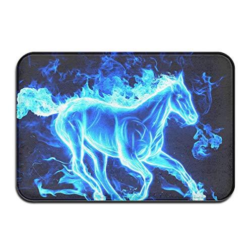 Running Blue Flaming Horse Zerbino Tappeto d'ingresso per Esterni Indoor Garage Tappeti per Scarpe da Bagno Porta d'ingresso Tappetini da Bagno Gomma Antiscivolo (23.6'x15.7, LXW)