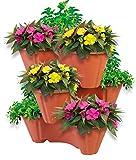 UPP® torre di vasi per piante, set impilabile da 3 pezzi / Vaso per fiori / Fioriera / Vaso per piante / Vaso per erbe aromatiche