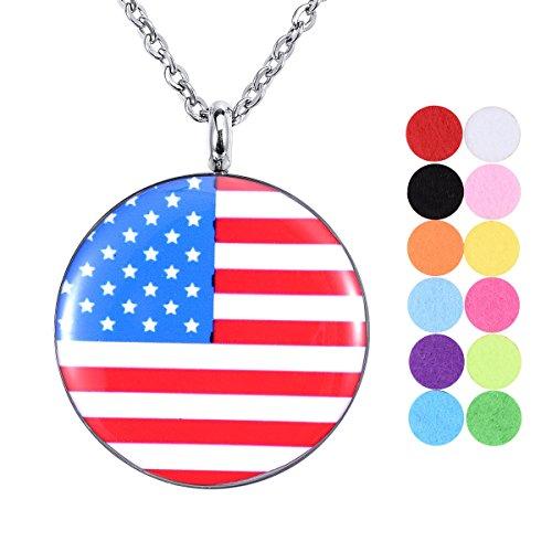 Tornado American Flagge Aromatherapie ätherisches Öl Diffusor Edelstahl Halskette Medaillon Anhänger Seite Hohl Rom Digital 12Refill Pads -