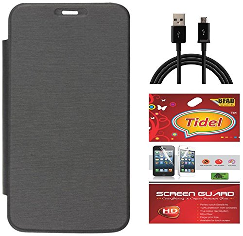 Tidel Black Premium Flip Cover For Micromax Bolt A71 With Tidel Screen Guard & Data Cable  available at amazon for Rs.198