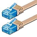 10m - CAT6a Cable de Red Plano (500 MHz) marrón Claro - 1 Pieza - Extra Alto Rendimiento DE Datos - 10m hasta 10 GB/s Piso Flaco Compatible con CAT5 CAT6 CAT7 CAT8 compatibles Cinta Internet