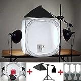 MVPOWER Studioset+Fotostudio, 80x80cm Lichtwürfel, Dauerlicht mit 2x135W Fotolampe, Softbox mit Galgen