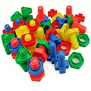 AZX Kids Nuts Bolts Toy Building Blocks Set Plastic Children Educational Toys For Toddlers Preschoolers Random Color