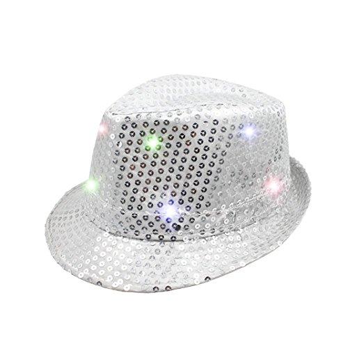 LED Hut Party, Asnlove LED Party Deko LED Hut Glitzerhut Partyhut Hut Glitzer 3 Modi Pailletten-Hut Neon Blinkend Verschiedene Farben und 9 LED Bling Licht Mit Knopfbatterien, (Kostüme Up Neon Light)