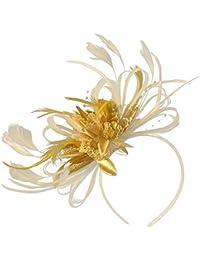 Tocado de plumas crema marfil y oro para bodas o carreras de Ascot