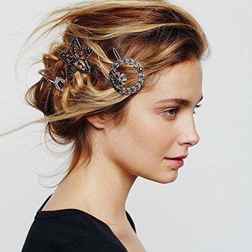 fxmimior, mit Clip, Silber, Kristall-Haarspange Haarklemmen im Boho-Stil, Damen Abend/Party-Dekorationen, 3Stück